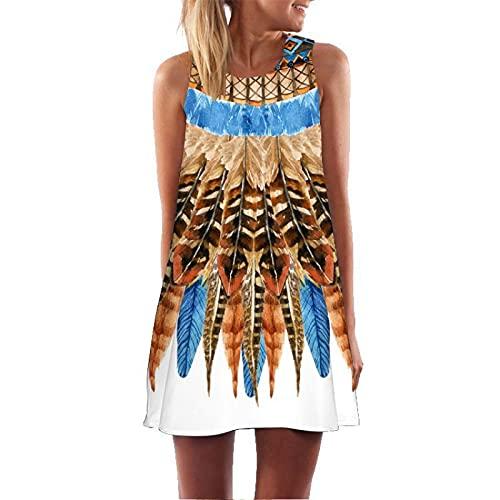 N\C Sleeveless Mini Dress Floral Print Dress Beach Skirt Vest Top A-Line Dress Ladies 3D Digital Printing Round Neck Summer XL