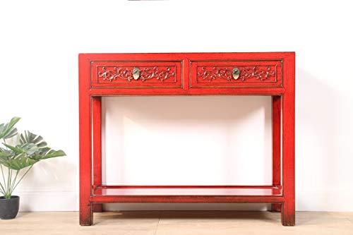 Yajutang Konsole Konsolentisch mit 2 Schubladen aus massivem Holz rot