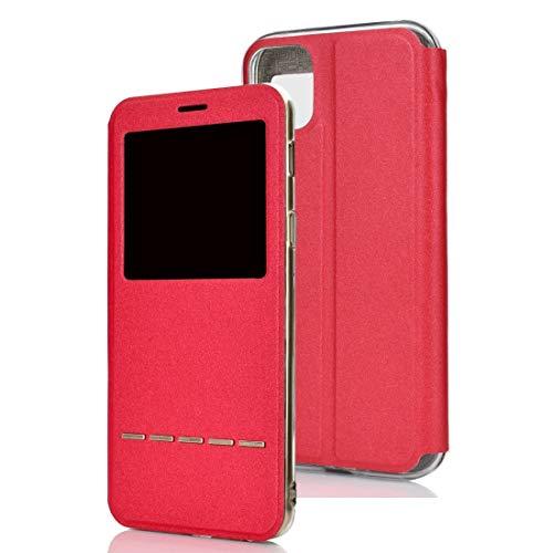 Dmtrab para Para iPhone 11 Matte Texture Horizontal Flip Soporte Teléfono Móvil Holster Window con identificador de Llamadas y Diapositiva de Metal para desbloquear (Negro) (Color : Red)