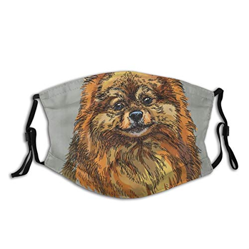 GEEVOSUN Face Cover Pomeranian Hand Drawn Style Sketchy of A Purebred Domestic Puppy Balaclava Reusable Anti-Dust Mouth Bandanas with 2 Filters
