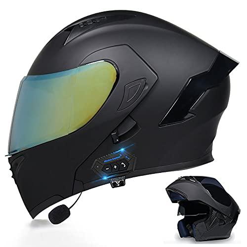 BDTOT Casco de Moto Modular Bluetooth Integrado con Doble Visera Cascos de Motocicleta Dot/ECE Bluetooth Incorporado ABS Duro Calentar Buen Sellado para Adultos Cruceros Locomotora