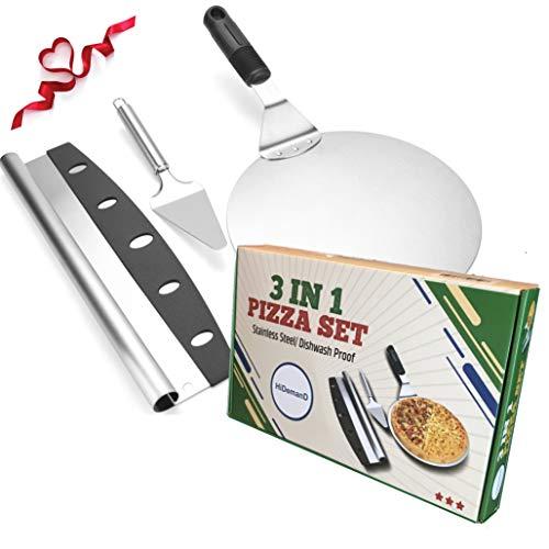 Pizza Cutter,Pizza Peel Set -Improved Design-14 inch Pizza Rocker-Pizza Shovel-Pizza Server. Stainless Steel/Dishwash Proof