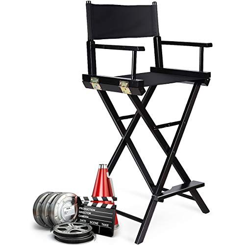 GOPLUS Regiestuhl, Make-up Chair, Klappstuhl, Faltstuhl mit Seitentaschen, Angelstuhl, Campingstuhl, schwarz, faltbar, aus Holz