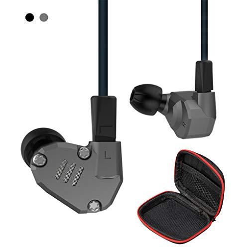 KZ ZS6 - Auriculares in-ear con carcasa de metal y cable desmontable, auriculares con cancelación de ruido ZS6 grey Sin micrófono
