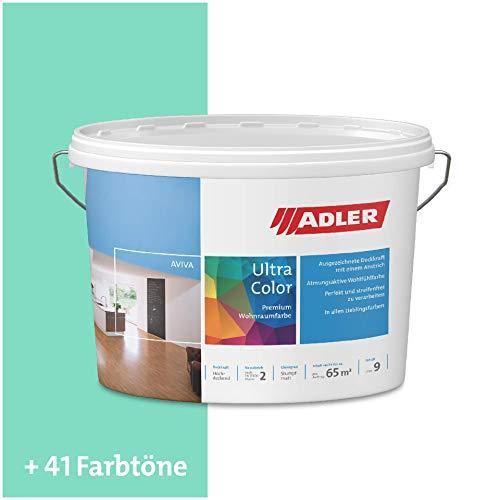 ADLER Ultra-Color Wandfarbe - Volltonfarbe und Abtönfarbe in 100+ Farbtönen - Gärtner C12 065/3 Türkis 1 l Atmungsaktiv, Hochdeckend, Lösungsmittelfrei
