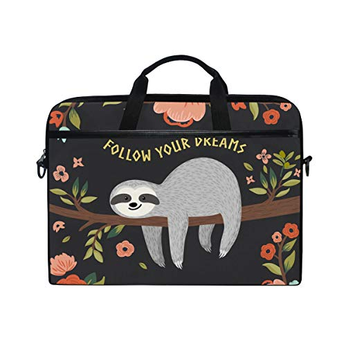 WowPrint Laptop Sleeve, Funny Animal Sloth Laptop Case Shoulder Strap with Handle Portable Notebook Computer Bag for 13 13.3 14 15 inch