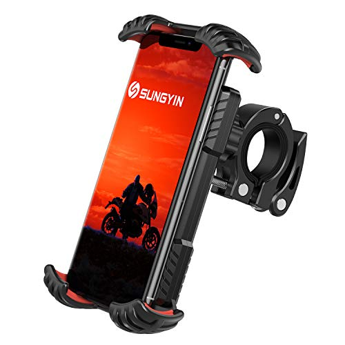 SUNGYIN Handyhalterung Fahrrad Universal Handyhalterung Motorrad 4,7-7 Zoll Smartphone 360° Drehung Outdoor Halter Fahrrad für iPhone 12 Mini,12 Pro Max,11 Pro Max,Xs Max,XR, X,8,Samsung S10 S9 S8