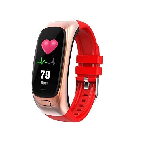 LXF JIAJU Pulsera Inteligente Monitor de presión Arterial Modos de Deporte Multi-Deporte Fitness Tracker Impermeable Smart Watch (Color : Red)