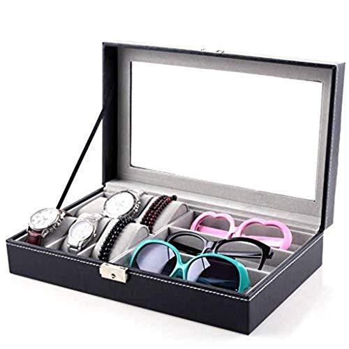 NHLBD Caja de Reloj Gafas de Sol de Cuero Gafas de Sol Caja de Almacenamiento Caja de exhibición de Joyas de Anillo Bloqueo de joyería Bloqueada Moda