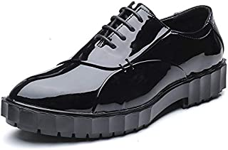 パテントレザー メンズビジネスオックスフォードカジュアルファッション印刷は古典的なレトロラウンドヘッドトゥジャケットレースミラーペイントレザーフォーマルシューズを褪色させない フォーマルドレス ドレスシューズ (Color : ブラック, サイズ : 25.5 CM)