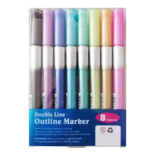 8/12pc doble línea esquema marcadores metálicos color graffiti pintura DIY pluma escuela suministros pluma