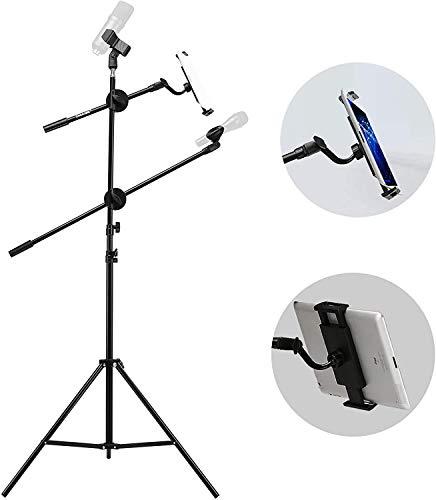 Mikrofonständer Mikrofon Stativ mit Tablethalterung und 2 Mikrofonklemmen faltbarer Metall Ständer 90-210cm höhenverstellbarer Mikrofonarmständer