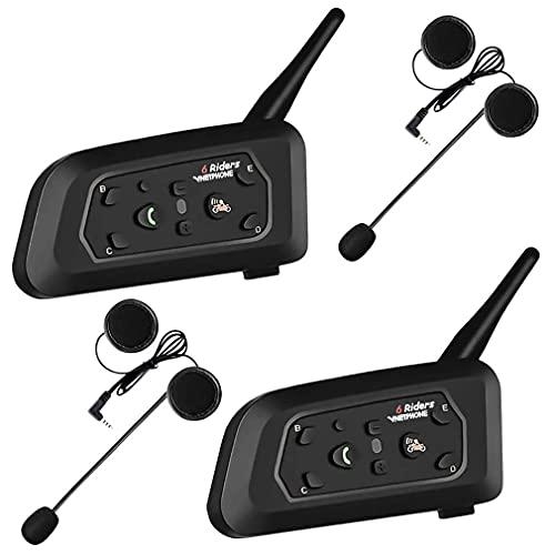 2× V61200m cuffie Babycall Sistema Intercom Bluetooth per Moto, Auricolare per casco, Citofono Duplex, intercomunicacion entre 6Moto, IPX5Fantasia