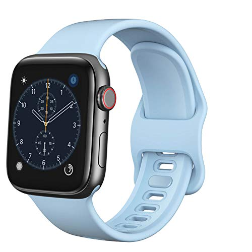 TopPerfekt Correa compatible con Apple Watch Correa 38 mm 40 mm, silicona suave de repuesto para iWatch Series 5 4 3 2 1 (azul claro, 38/40 mm)