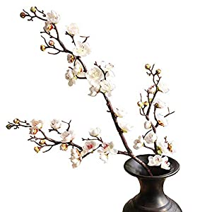 "FightingFly 4Pcs Artificial Cherry Blossom Flowers, 37"" Plum Blossom Peach Branches Silk Tall Fake Flower Arrangements for Home Wedding Centerpieces Decoration, White"