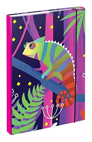 baagl Carpeta para mochila escolar A4 – Carpeta para niños con banda de goma y solapas interiores – Carpeta con cierre de goma para niña (camaleón)