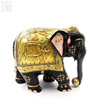 """Karigar Shop 5"""" Wood Handmade Elephant Statue Embossed Painted Animal Figurines Showpiece Gifts for Home Decoration,..."""