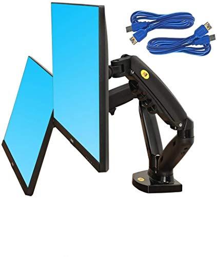 """Support de Bureau pour 2 écrans PC LCD LED 17 """"- 27"""" ( USB 3.0 ) réglage dans Plusieurs Axes, Pivot, Ressort à gaz jusqu'à 2x9 kg"""