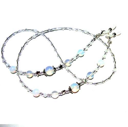 Opaelsqe - Soporte para gafas de cristal de opalita, con cuentas, para cadenas de gafas