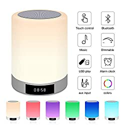 Night Light Bluetooth Speaker, Touch Control Lamp Speaker, Alarm Clock Wireless Speaker with 7 Color LED Light, Digital FM Radio Alarm Clocks with Bedside Lamp