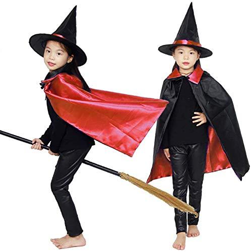 Capa de bruja con sombrero, capa de doble cara para cosplay de mago de Halloween para nios, disfraz de Navidad, juego de rol, disfraz de vampiro para nios y nias