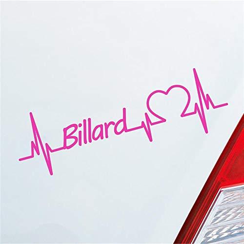 Hellweg Druckerei Auto Aufkleber Billard Herzschlag Ballsport 8-Ball Pool Sport Sticker Liebe Pink