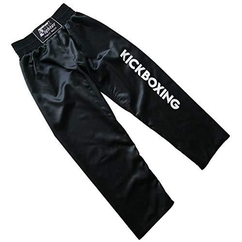 4Fighter Pantaloni Neri Kickboxing Full Contact Neri, Dimensioni:L