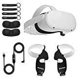 Oculus 2021 Newest Quest 2 VR Headset 64GB Holiday Bundle, Advanced All-in-One Virtual Reality Headset, NexiGo_ Controller Grip Cover Black + Knuckle Strap Black + Lens Cover + 16FT Link Cable Bundle