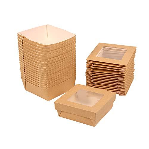 Geschenkschachtel mit Deckel und großem Sichtfenster, lebensmittelecht, braun, ca. 13,5 x 13,5 cm, Snackschachtel Lunchbox Windowbox Geschenkbox, Inhalt: 20 Stück