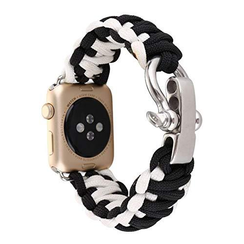 Fhony Correade Repuesto Compatible con Apple Watch 38mm 40mm 42mm 44mm Correa de Tela Tejida Nylon de Repuesto con Hebilla de Metal para Iwatch Series 6 5 4 3 2 1 SE,Black White,38/404mm