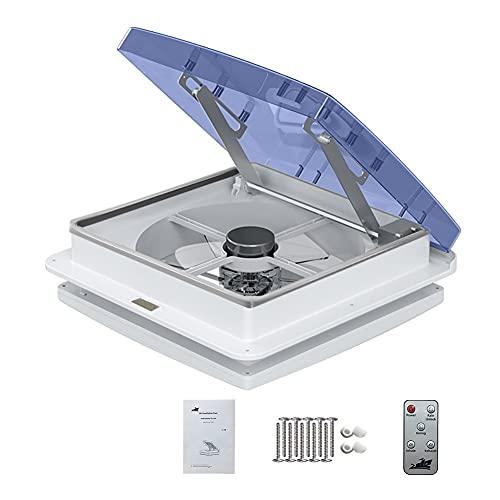 Ventola di ventilazione per camper, ventilazione per camper con sensore pioggia, ventola di scarico automatico 12V per camper (Blue transparent)