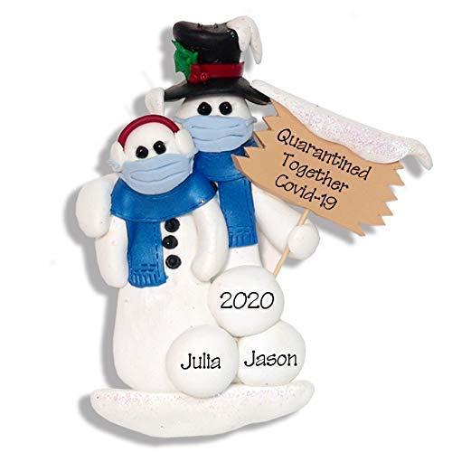 Covid-19 Quarantine Snowman Couple w/Face masks Pandemic Coronavirus POLYMER Ornament