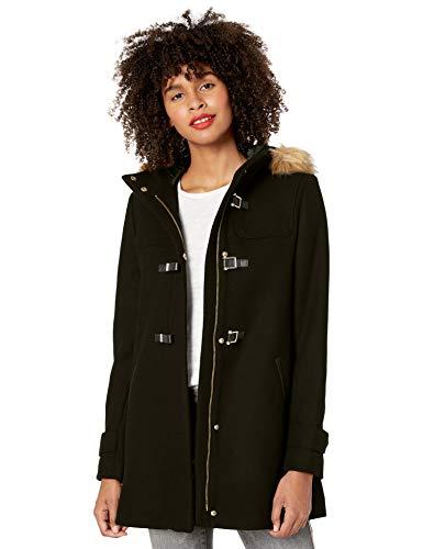 Cole Haan womens Signature Hooded Wool Duffle Coat, Deep Black, 4