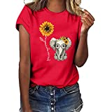Womens Tops for Leggings Womens T-Shirts Teen Girls Casual Short Sleeve Crew Neck Sunflower Print Loose Tunic Shirts Blouse Tops