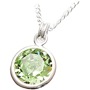 pewterhooter 925 Sterling Silver Pendant and Chain Handmade with Sparkling Peridot Green Crystal from Swarovski in a Silver Setting. London Box.