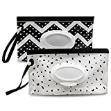 Baby Wipe Dispenser,Portable Refillable Wipe Holder,Baby Wipes Container,Wipes Dispenser, Reusable Travel Wet Wipe Pouch (2PACK)