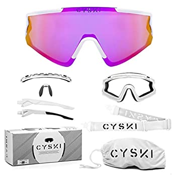 CYSKI Convertible Ski Glasses/Snowboard Goggles for Cycling Skiing Snowboarding Running Air-Soft Motorcycle Hiking - 100% UV Protection - Light Weight Comfort - Pink Lens/White Frame