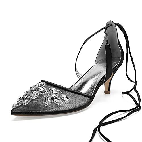 AQTEC Mujer Puntiagudo con Correa en el Tobillo con Cordones Zapatos de Boda Elegante de tacón bajo Diamante Respirable Satén de Encaje Sandalias de Novia,Negro,36 EU
