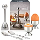 Steel Egg Cracker Topper Set - Complete Soft Boiled Egg Tool Set - Includes Egg Cups Cutter & Spoons - Holder Cup Spoon & Peeler - Easy Eggs Opener by Eparé