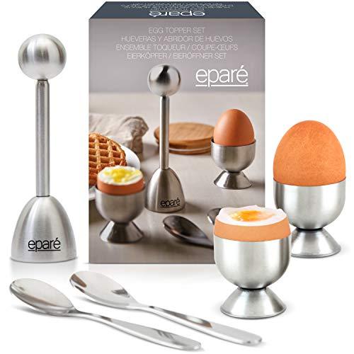 Steel Egg Cracker Topper Set - Complete Soft Boiled Egg Tool Set - Includes Egg Cups Cutter & Spoons...