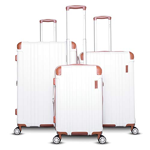 Gabbiano Bravo Collection 3 Piece Hardside Spinner Luggage Set (White)