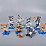 Jerry con Tom Cat And Mouse Dibujos animados Anime PVC Figura Modelo Modelo Muñecas Muñecas Muñecas Clásicas Regalos para niños Regalo de graduación 9pcs / set