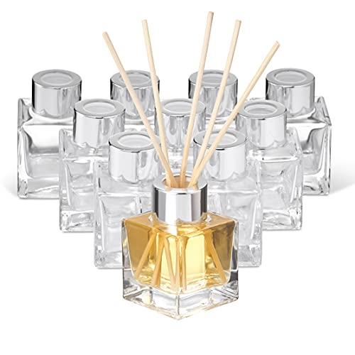 MATANA 10 Botellas de Vidrio Difusor (50ml) - con 40 Varillas Difusoras Reed