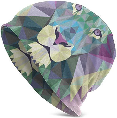 Lion Bequeme weiche Strickmützen Slouchy Beanie Mütze Skull Cap Winter Warme Skimütze für Männer Frauen