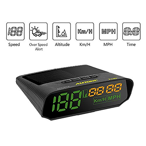 AUTOOL Universal Car HUD GPS Speedometer MPH/KM/h LED Head UP Display Digital Auto Speed Overspeed Alarm for All Vehicles
