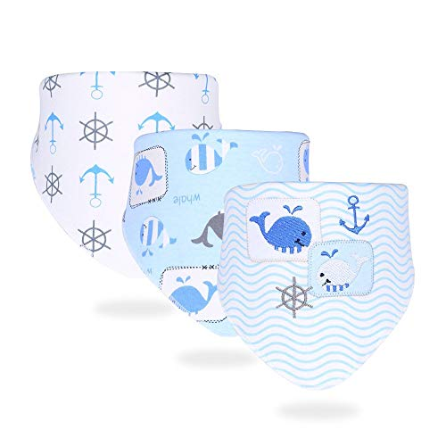 HongYong Baby Bandana Dribble Bibs, 3 Pack Drool Bibs for Drooling and Teething Super Soft and Absorbent (Whale Pattern)