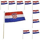 Sonia Originelli 10er Set Fahne Flagge Winkfahne WM Fußball Fan Stab Farbe Kroatien