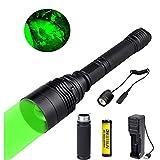 Torche de chasse verte, torche LED avec lumière verte 300 mètres Lampe de poche tactique zoomable Predator Hog Coyote Light pour vision nocturne Chasse Pressostat et piles incluses