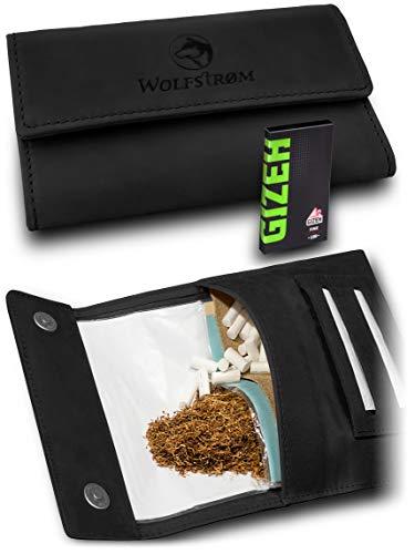Tabaktasche 'Taruk' – Premium Tabak-Beutel Leder, Set inkl. Gizeh Papers – Dreher-Tasche mit Magnetverschluss, Filterfach und Double Blättchen-Halter – Norwegian Black