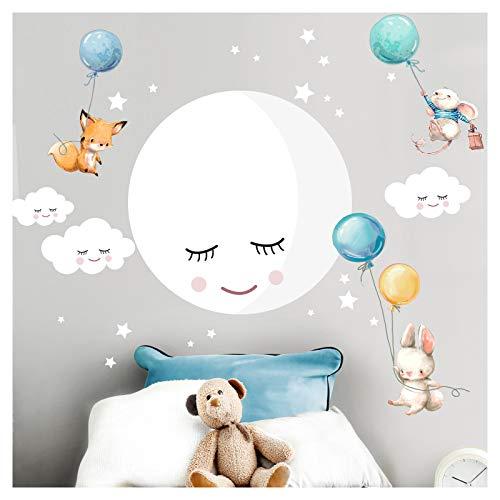 Little Deco Wandsticker Kinderzimmer Mädchen Junge Mond I Wandbild 104 x 70 cm (BxH) I Wandtattoo Fuchs Hase Maus Babyzimmer Wandaufkleber Kinder DL504A-05